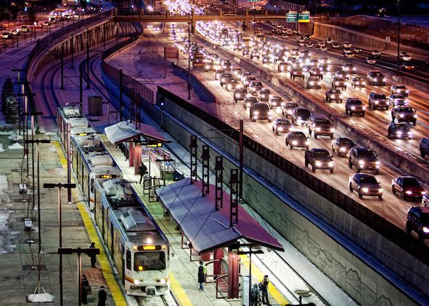 Winter traffic in Denver, CO.