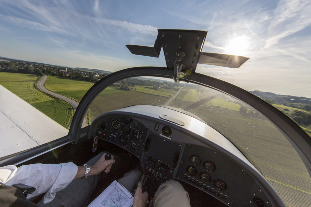 View from the cockpit during landing
