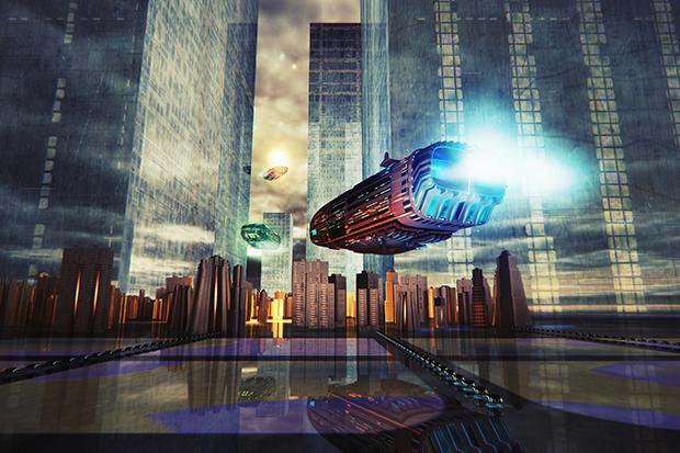 Conceptual futuristic cityscape image