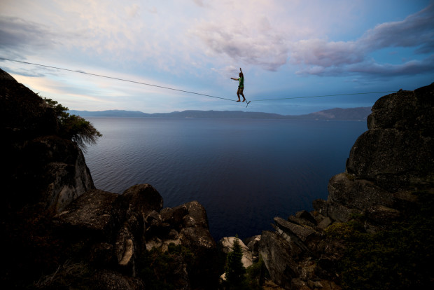 Slacklining in a dramatic setting