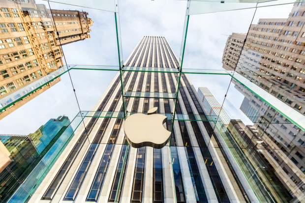 New York City, NY, USA - October 14, 2015: Apple store. Apple won numerous architectural awards for store design, particularly for this store on 5th Ave in Midtown, Manhattan, whose glass cube was designed by Bohlin Cywinski Jackson