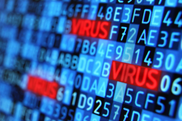 "Computer threat: virus hiding into programming code, result of hacker activities and computer crimes. Detail of hexadecimal data on a computer monitor with highlighted red ""virus"" words, showing letters and numbers arranged on a blue background. Selective focus with depth of field effect."