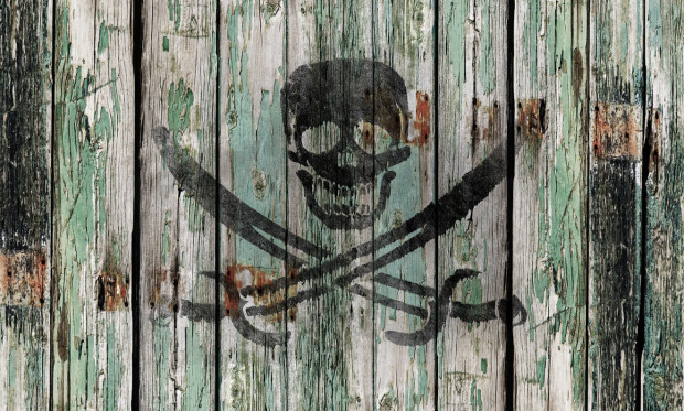 Old wooden door with a skull and swords