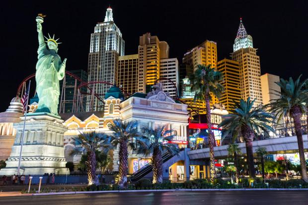 View of New York-New York hotel and casino at night
