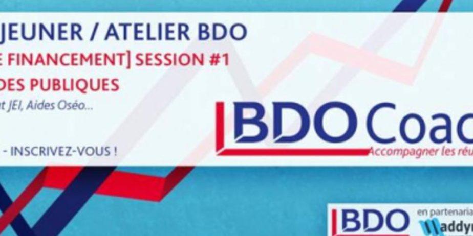 BDO Coaching – Atelier Financement : Les Aides Publiques