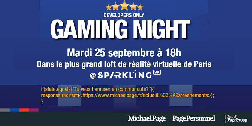 GAMING NIGHT, le rendez-vous des dev by Page Technology @ Sparkling VR