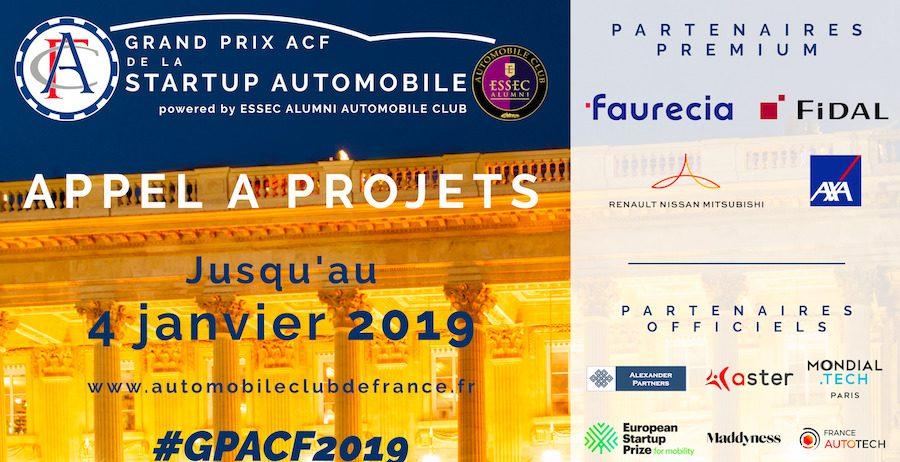 Appel à Projets - Grand Prix ACF de la Startup Automobile 2019, powered by ESSEC Alumni Automobile Club