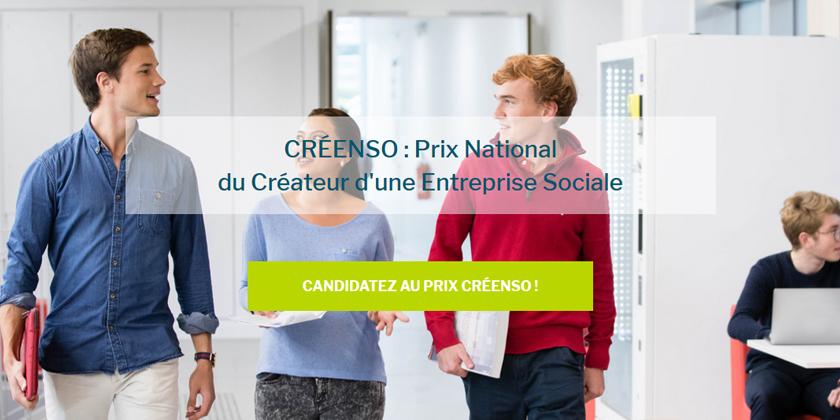 Le Prix CRÉENSO, Prix National du Créateur d'une Entreprise Sociale, est organisé par l'IÉSEG School of Management avec la Fondation Ceetrus pour l'Entrepreneur Social.